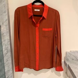 Equipment Rust silk button down with orange accent